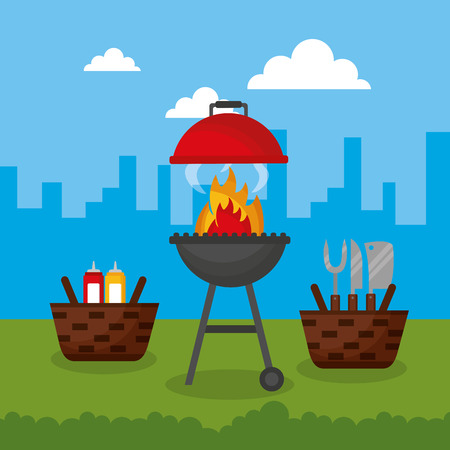 city outdoor baskets utensils food barbecue vector illustration