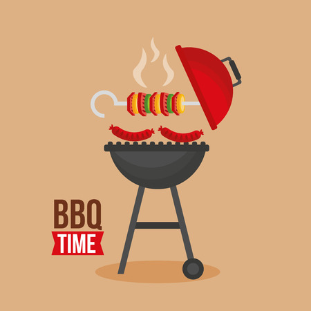grill barbecue skewers  sausages time vector illustration Foto de archivo - 113813042