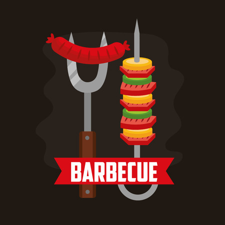 barbecue fork sausage skewers  ribbon vector illustration