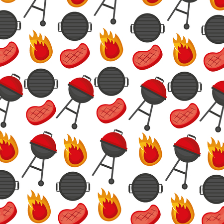 barbecue grills meats fire background vector illustration