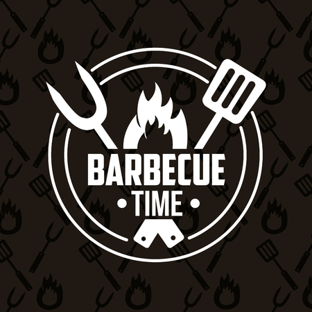 sticker fork spatula fire barbecue time vector illustration