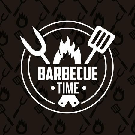 sticker fork spatula fire barbecue time vector illustration
