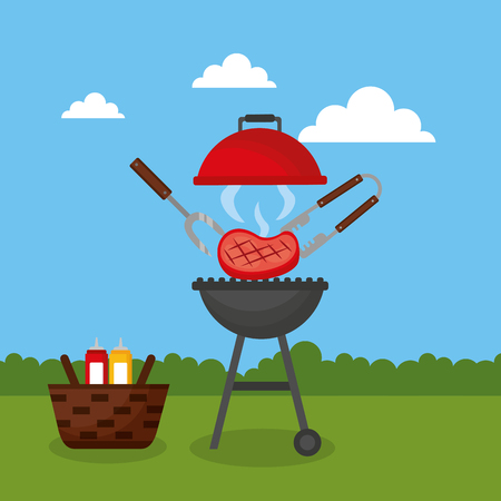 grill meat tweezers barbecue basket sauces vector illustration