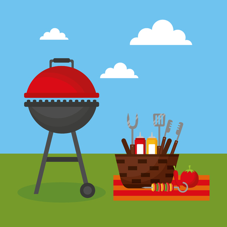 grill barbecue basket utensils food sauces picnic vector illustration Ilustração