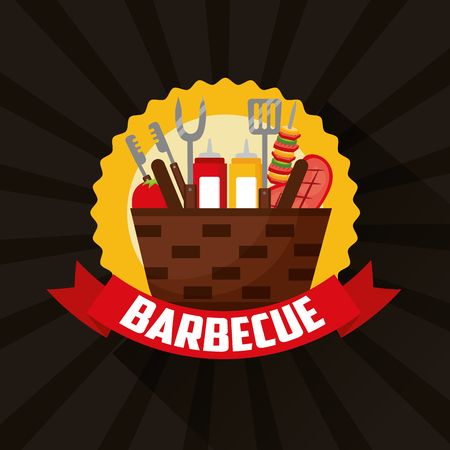 barbecue sticker ribbon basket food utensils vector illustration Standard-Bild - 126820046