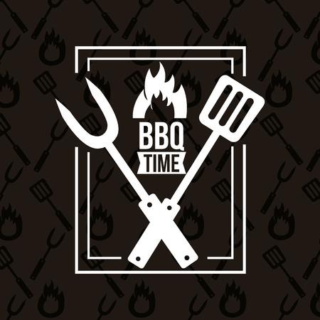 frame bbq time barbecue fork spatula vector illustration  イラスト・ベクター素材