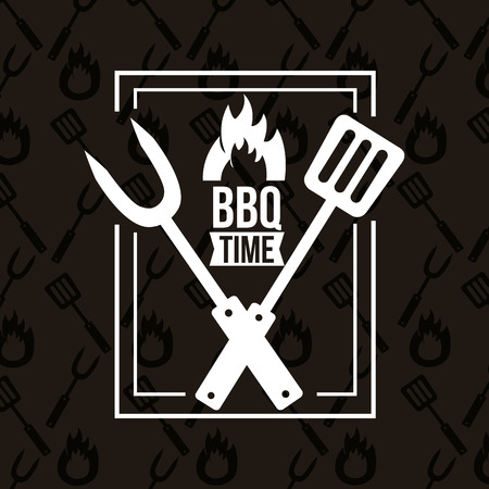 frame bbq time barbecue fork spatula vector illustration Illustration