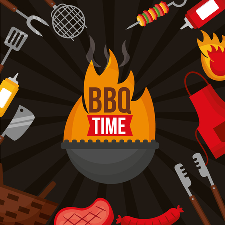barbecue fire bbq time apron utensils food vector illustration