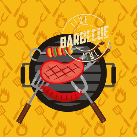 barbecue grill meat fork spatula tweezers and brochette vector illustration Ilustração