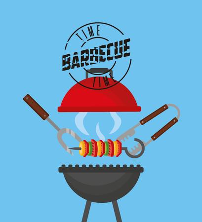 brochette grill barbecue fork delicious vector illustration
