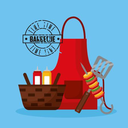 apron spatula brochette basket barbecue vector illustration Standard-Bild - 126820053