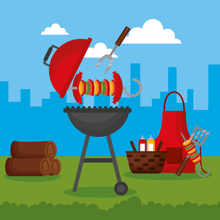 outdoor city barbecue picnic food vector illustration