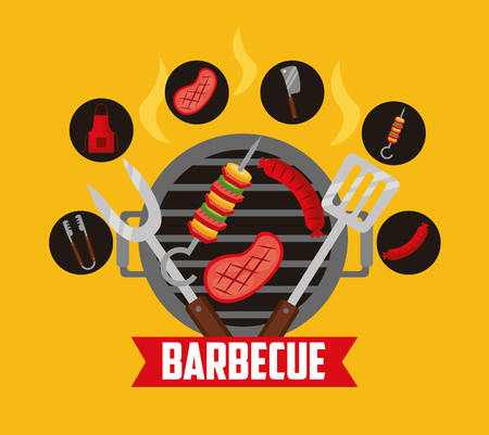grill meat brochette barbecue stickers ribbon vector illustration