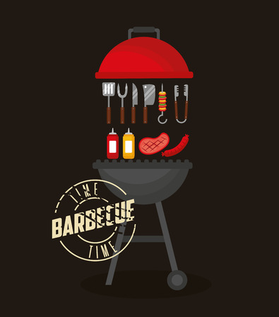 grill utensils food sauces barbecue vector illustration