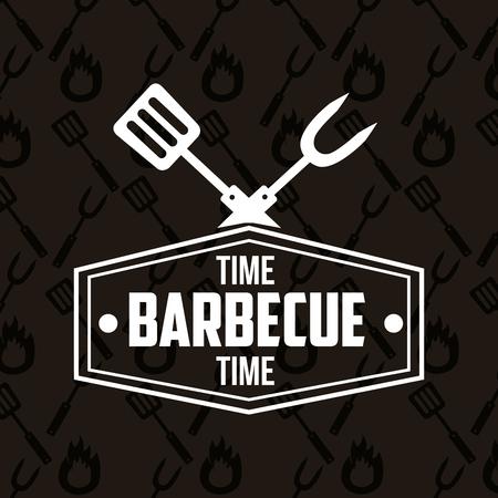 fork spatula sticker sign barbecue time vector illustration