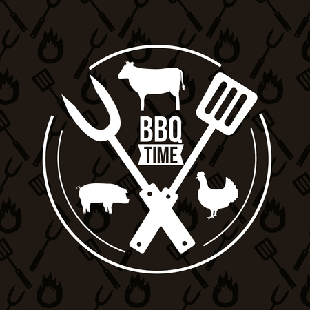 barbecue sticker animals bbq time utensils vector illustration  イラスト・ベクター素材