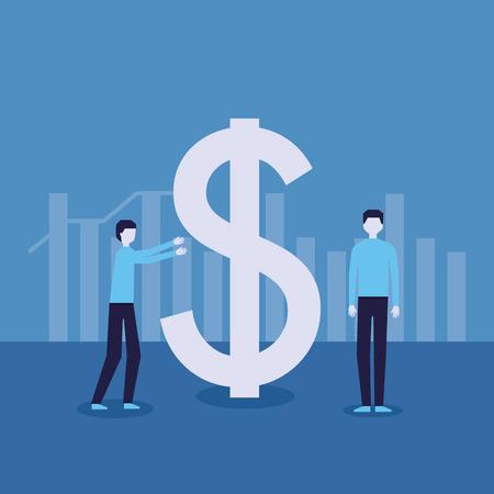 businessman success dollar symbol growth financial vector illustration