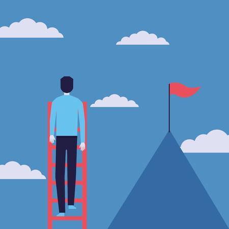 businessman success stars growth flag vector illustration