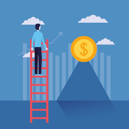 businessman success stairs coin top financial vector illustration