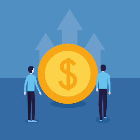 businessman success coin dollar top chart vector illustration Illustration