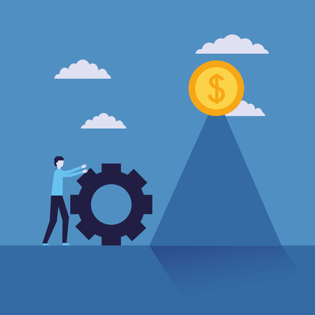 businessman success man pushing wheel progress coin money vector illustration