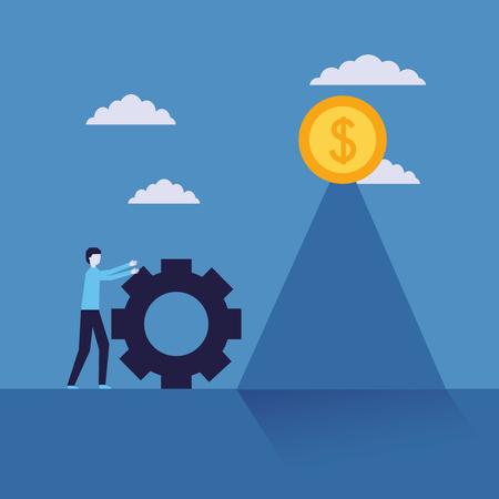 hombre de negocios, éxito, hombre, empujar, rueda, progreso, moneda, dinero, vector, ilustración