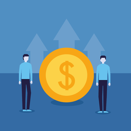 businessman success coin top arrow progress vector illustration