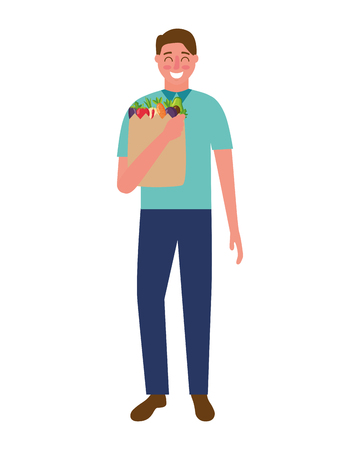 man with bag grocery healthy food vector illustration