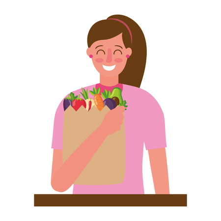woman with bag grocery healthy food vector illustration Stock Vector - 126820109