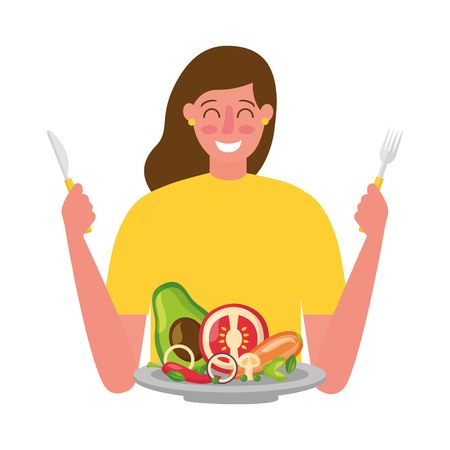 woman with fork and knife vegetable healthy food vector illustration
