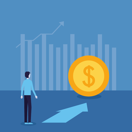 businessman success coin arrow top financial progress vector illustration