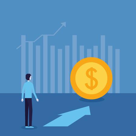 Ilustración de vector de progreso financiero superior de flecha de moneda de éxito de empresario