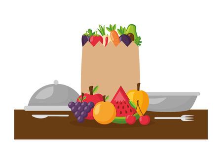 healthy food grocery bag fruits vegetables plate vector illustration Stock Vector - 113812950