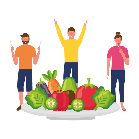 men and woman with vegetables on plate vector illustration Çizim