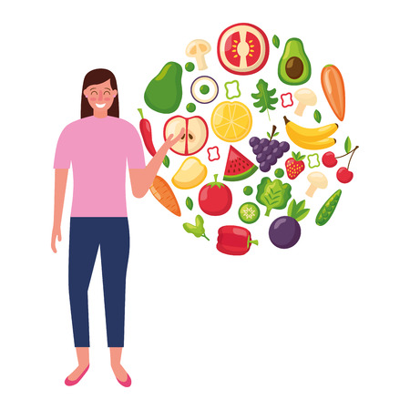 woman with fruits and vegetable healthy food vector illustration 일러스트