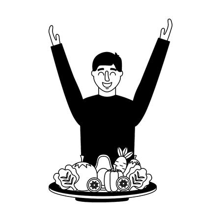 man vegetables in plate healthy food vector illustration Illustration