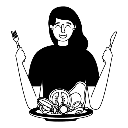 woman with fork and knife vegetable healthy food vector illustration Standard-Bild - 126820121