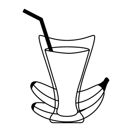 banana juice cup with straw vector illustration  イラスト・ベクター素材