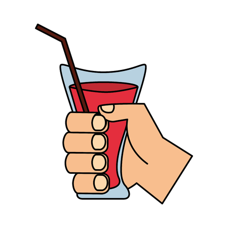 hand holding juice cup with straw vector illustration