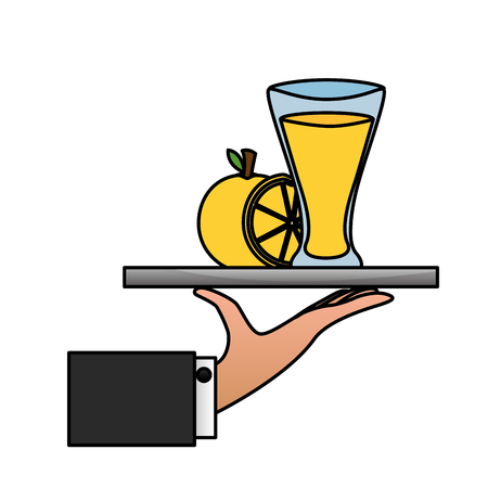 tray hand orange juice glass cup vector illustration Imagens - 126820127