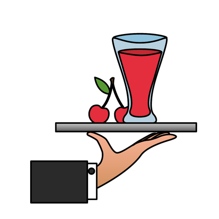tray hand cherry juice glass cup vector illustration