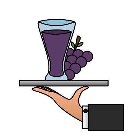 tray hand grapes juice cup vector illustration  イラスト・ベクター素材