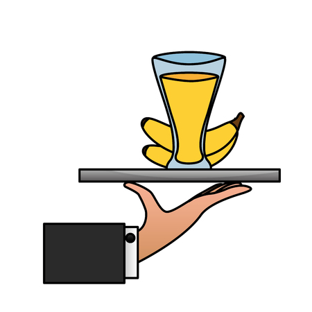 tray hand banana juice cup vector illustration