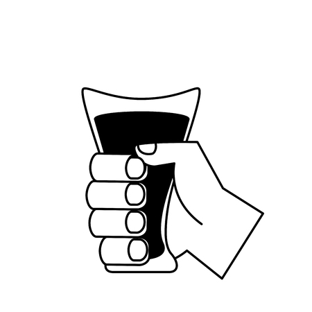 hand holding juice glass cup vector illustration