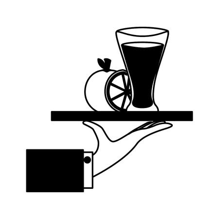 tray hand orange juice glass cup vector illustration