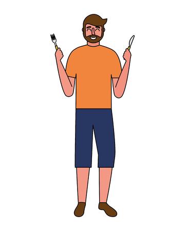 beardded man holding fork and knife vector illustration