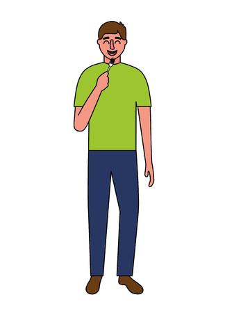 man holding fork cutlery white background vector illustration Illustration