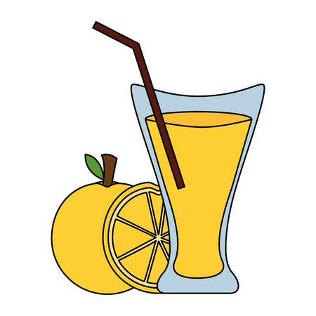 orange juice cup with straw vector illustration