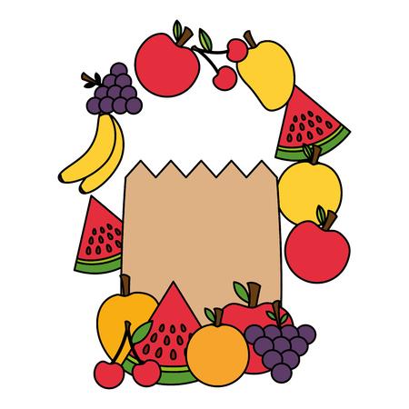 health food grocery bag fruits vector illustration Stock Vector - 113812978