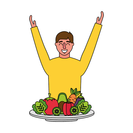 man vegetables in plate healthy food vector illustration 向量圖像